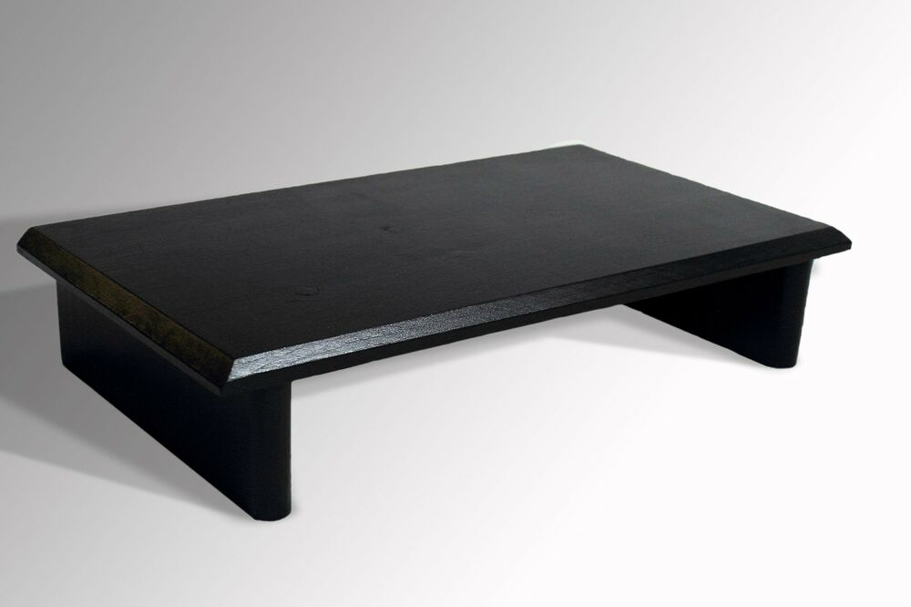 L k monitor stand pine glossy black tv wood