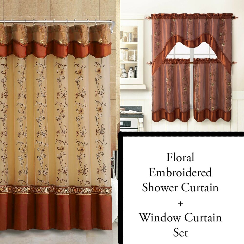 cinnamon shower curtain and 3pc window curtain set bathroom decor double layer ebay. Black Bedroom Furniture Sets. Home Design Ideas