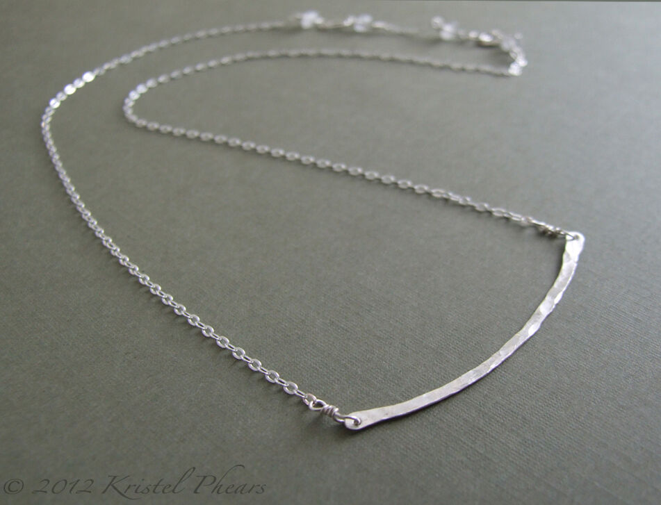 Sterling Hammered Bar necklace - Handcrafted Artisan Made in USA 16 ...