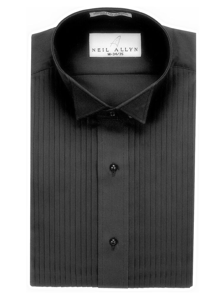 Nwt size xs 5xl men 39 s black wing collar 1 4 pleats for Black tuxedo shirt for men