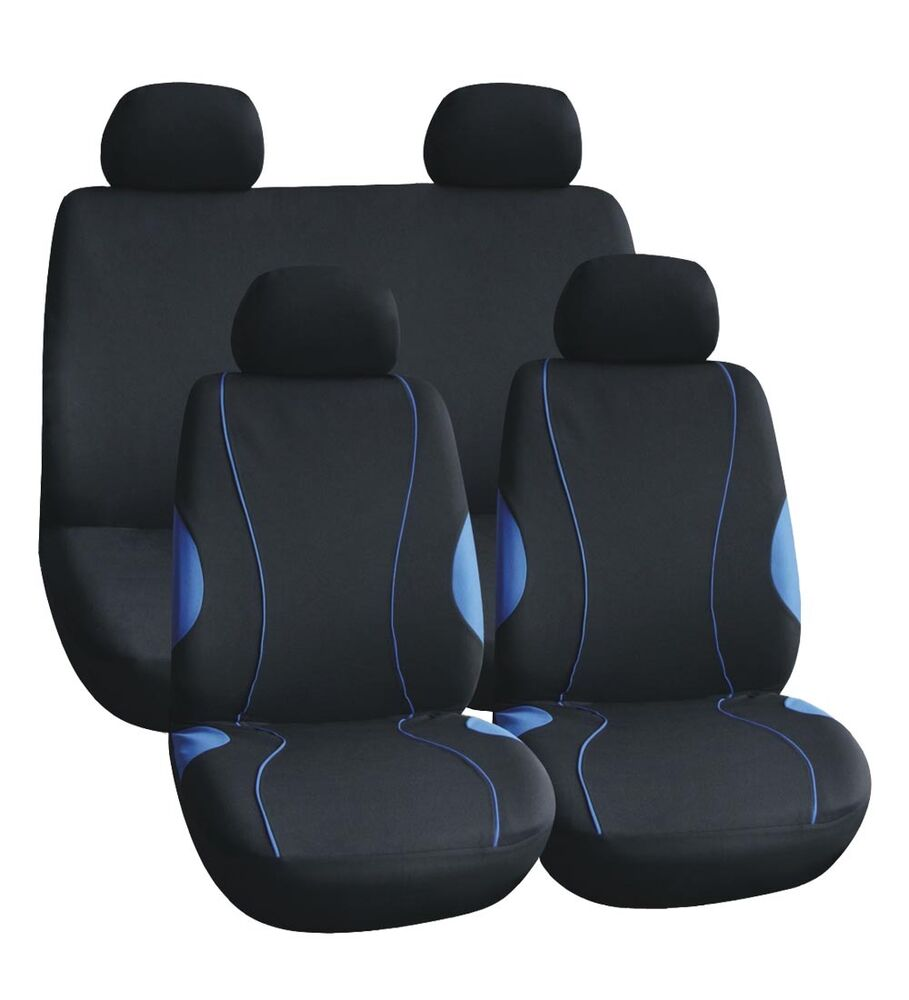 cloth mesh car seat covers black blue stitching japblue ebay. Black Bedroom Furniture Sets. Home Design Ideas