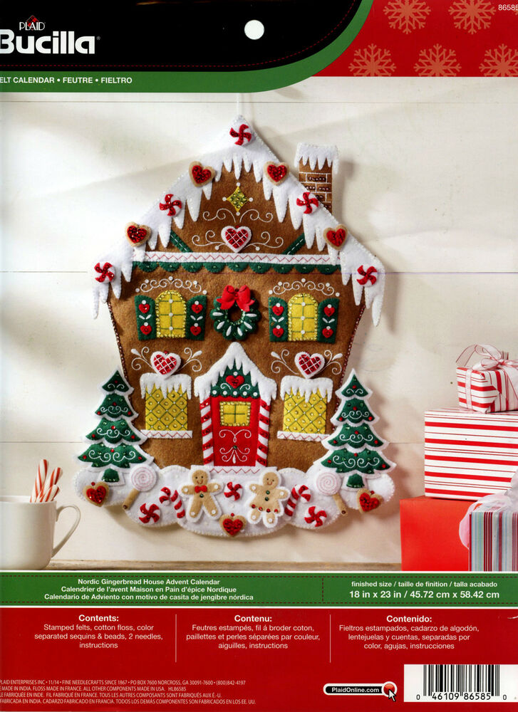 Calendar Kit Ideas : Bucilla nordic gingerbread house felt advent calendar