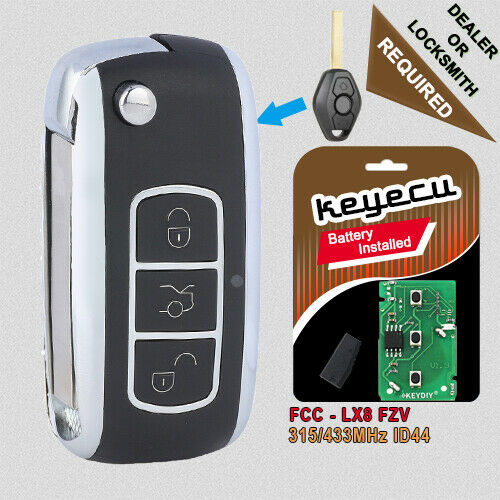 Bentley Style Folding Remote Key Fob 3 Button For Bmw 315