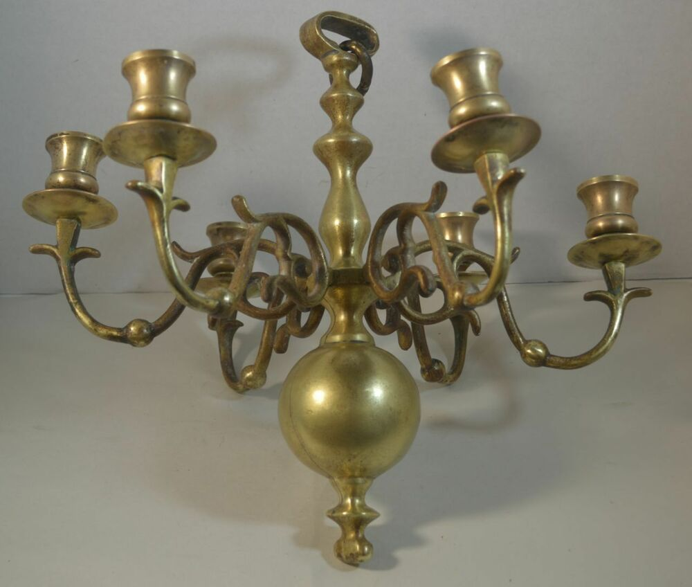 Antique American Colonial Brass Chandelier