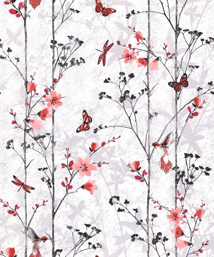 Feature wall floral butterfly bird foliage red muriva for Butterfly wallpaper for walls