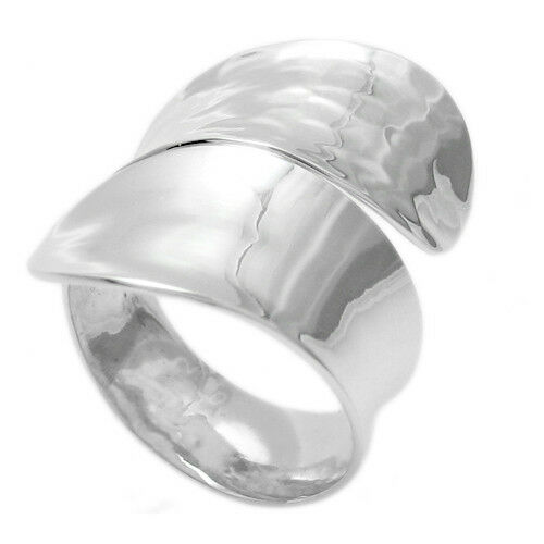 925 sterling silver large hammered polished wrap band