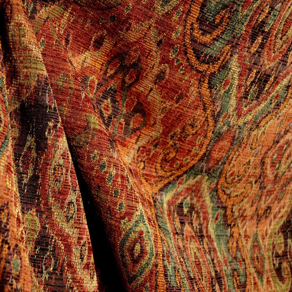 Upholstery Fabric Of M9842 Garnet Rust Orange Green Black Tapestry Damask