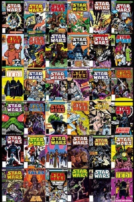Book Cover Collage Poster : Star wars comic book covers collage poster cm