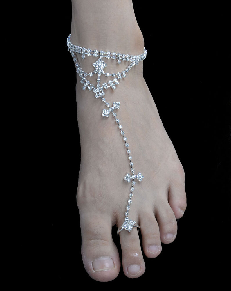 Crystal Rhinestone w/Ring Barefoot Beach Foot Anklets ...