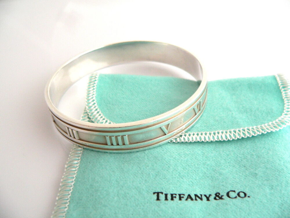 Tiffany Amp Co Silver Wide Atlas Roman Numeral Bangle
