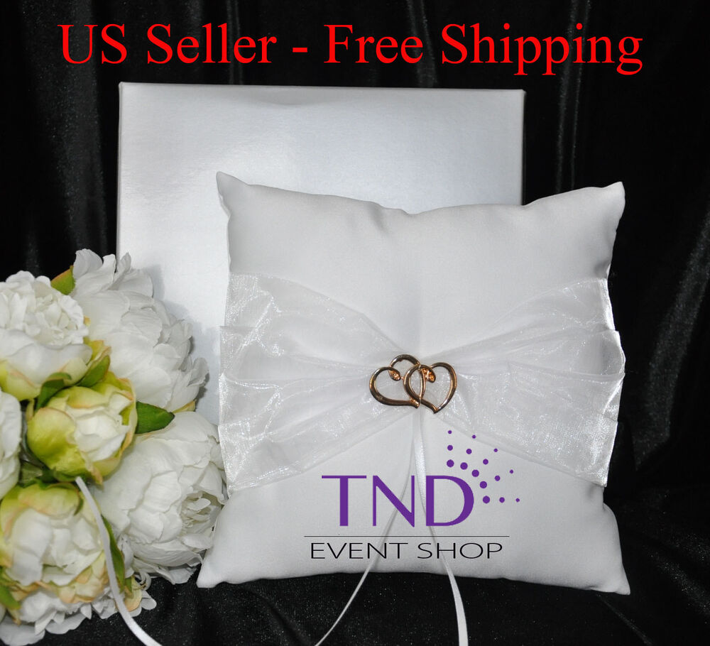 SATIN WEDDING RING BEARER PILLOW ACCENTED W/ORGANZA
