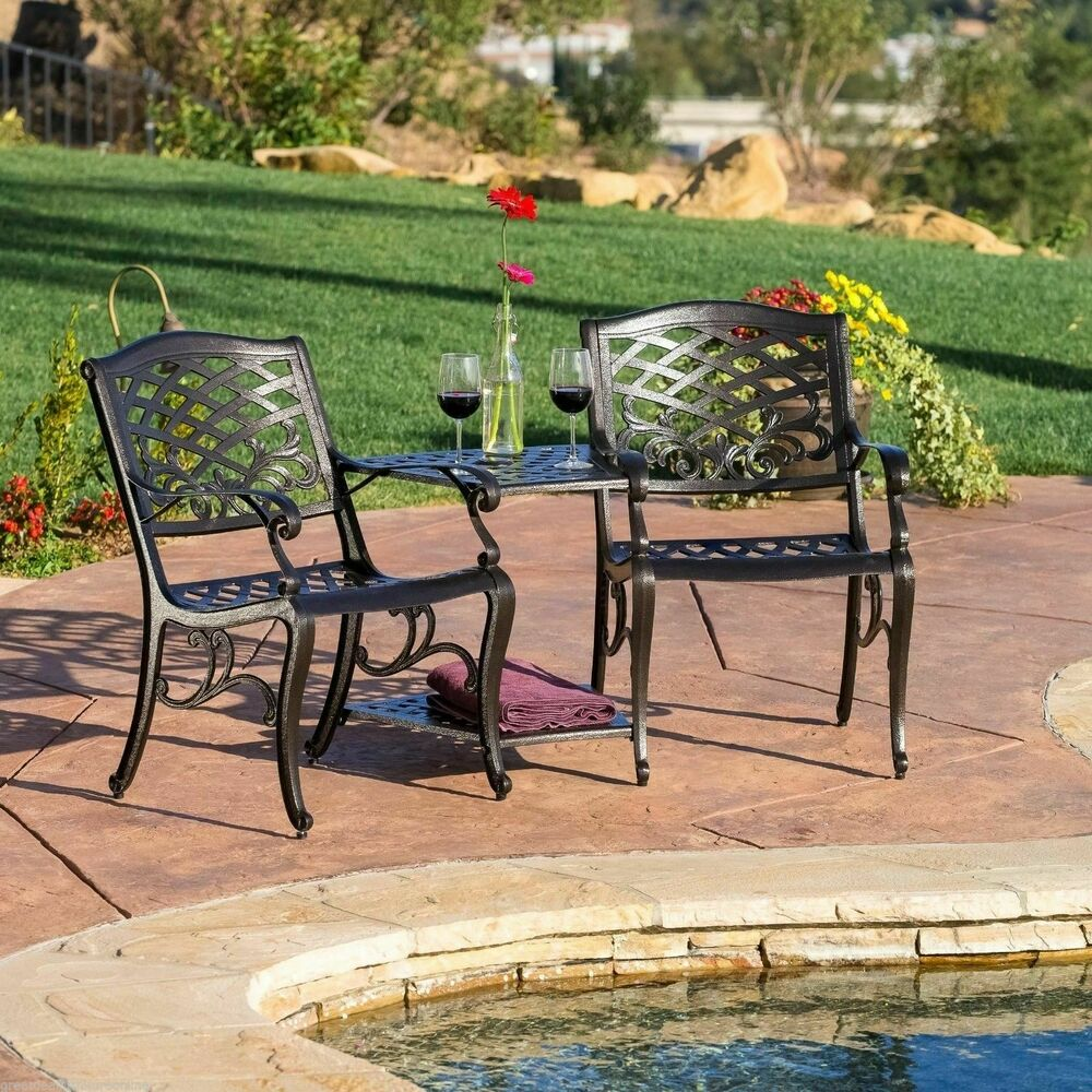 Outdoor patio furniture cast aluminum 2 seater set bench for Outdoor furniture benches