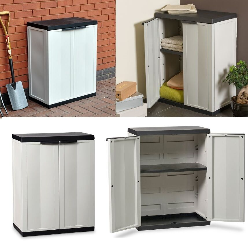Tips For Buying Garage Utility Cabinets: Plastic Medium Cabinet Ideal Storage Garden Garage House Shed Patio Cupboard