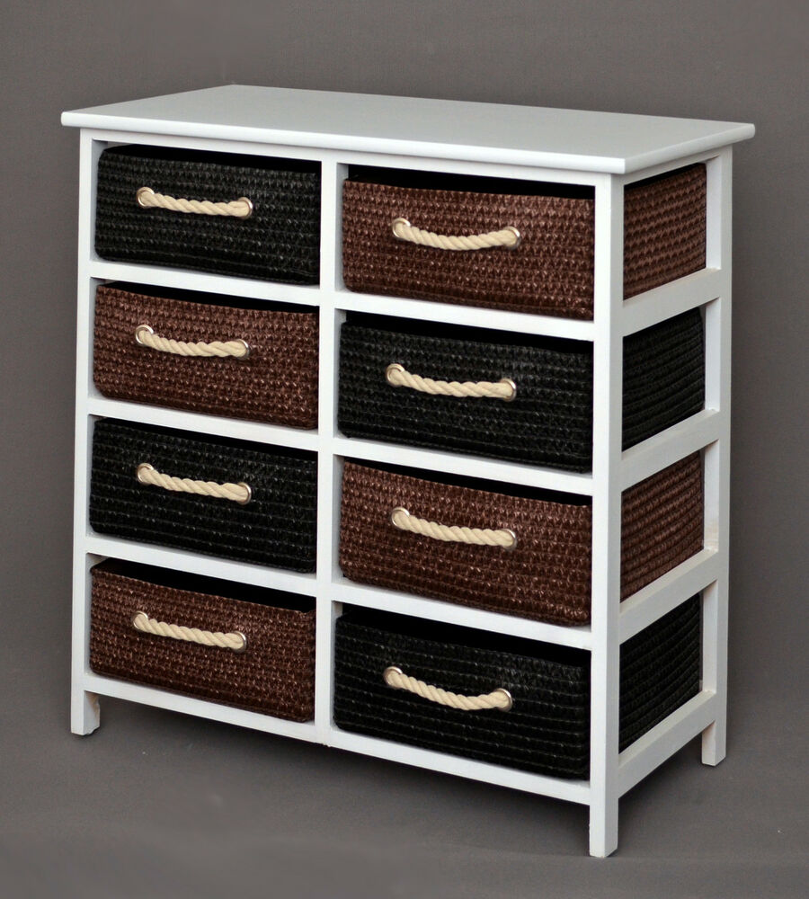 landhaus kommode schrank 70 cm h he bad flurregal wei mit 8 k rben in braun neu ebay. Black Bedroom Furniture Sets. Home Design Ideas