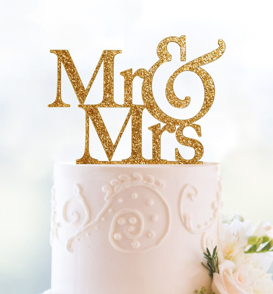 Mr And Mrs Cake Topper Silver