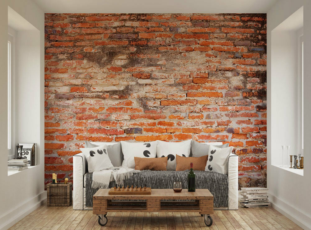 Ohpopsi dirty old red brick wall mural ebay for Brick wall mural
