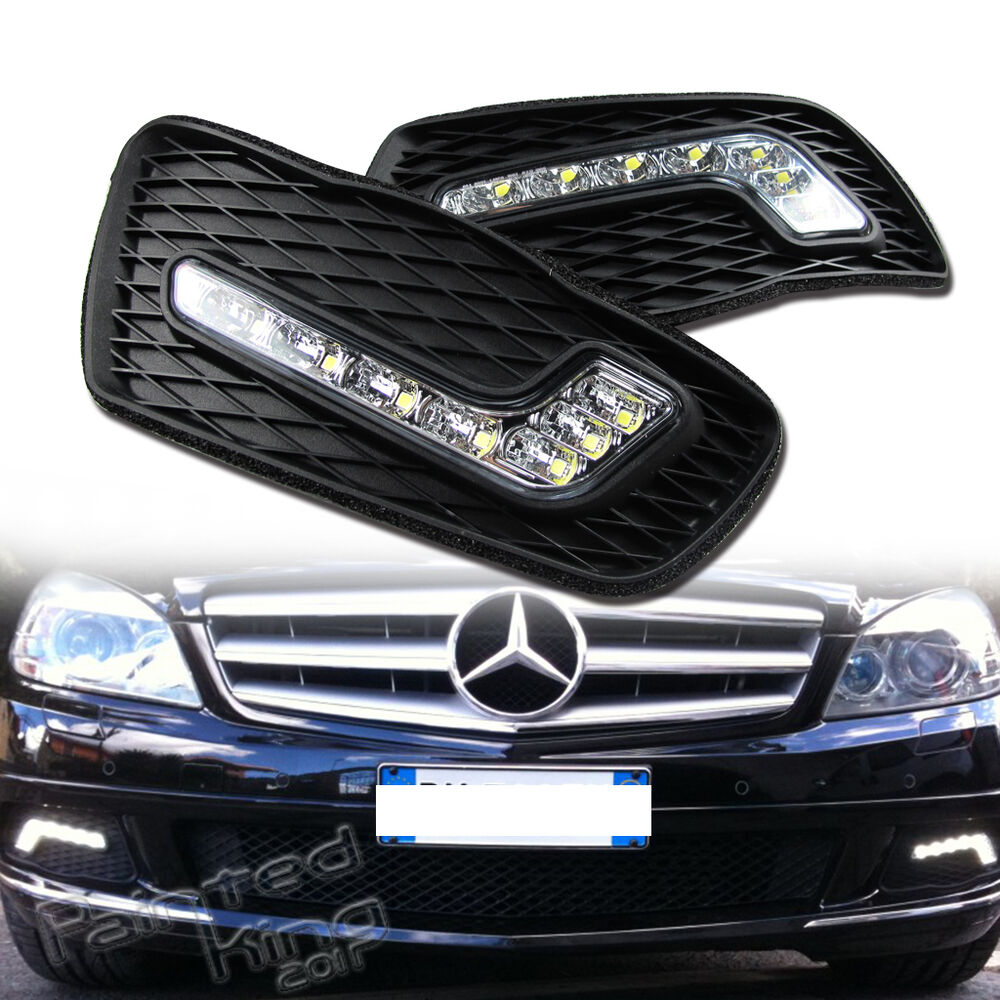 08 11 mercedes benz w204 c class luxury led drl driving for Led light for mercedes benz