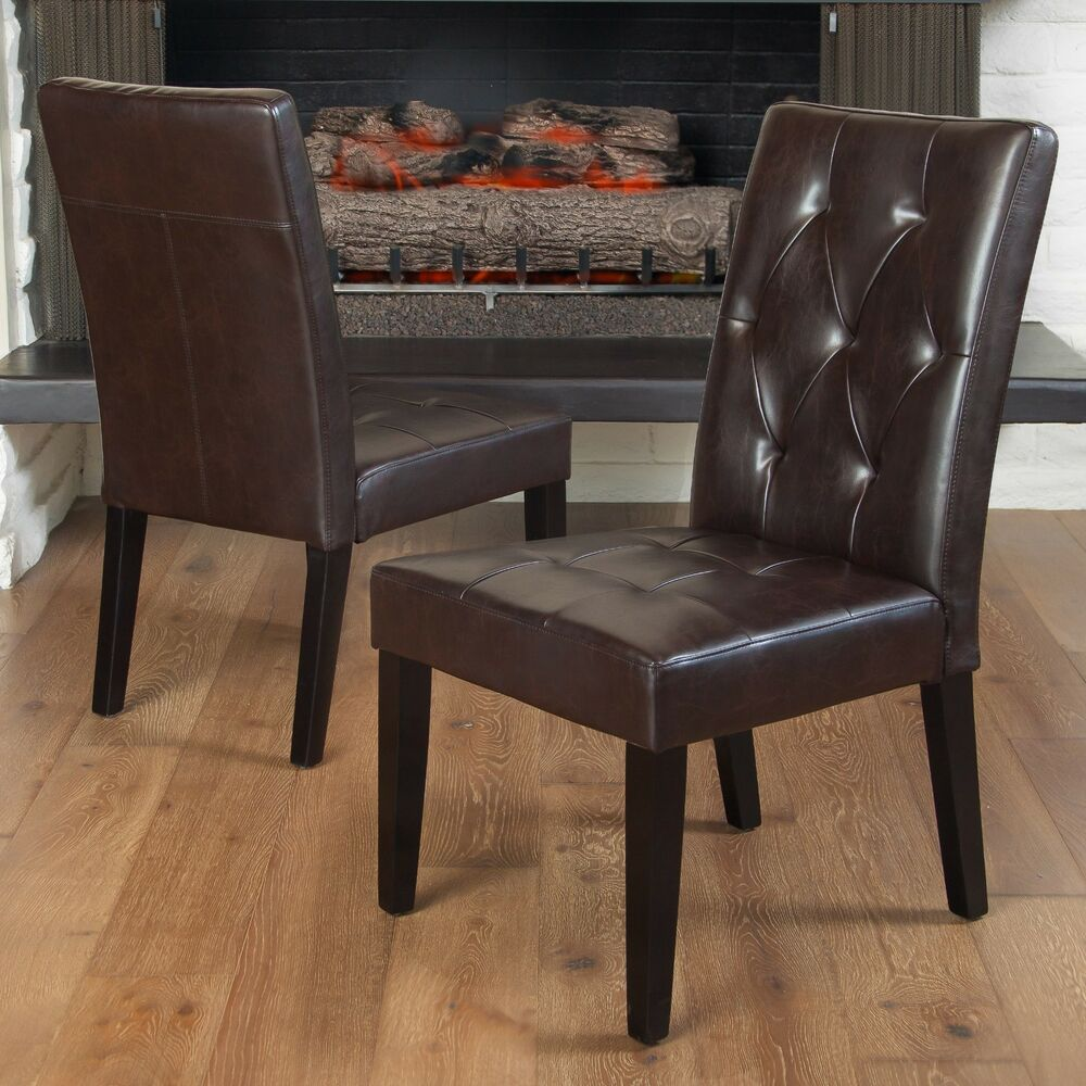 Set of 2 contemporary brown leather dining chair w tufted for Brown leather dining room chairs