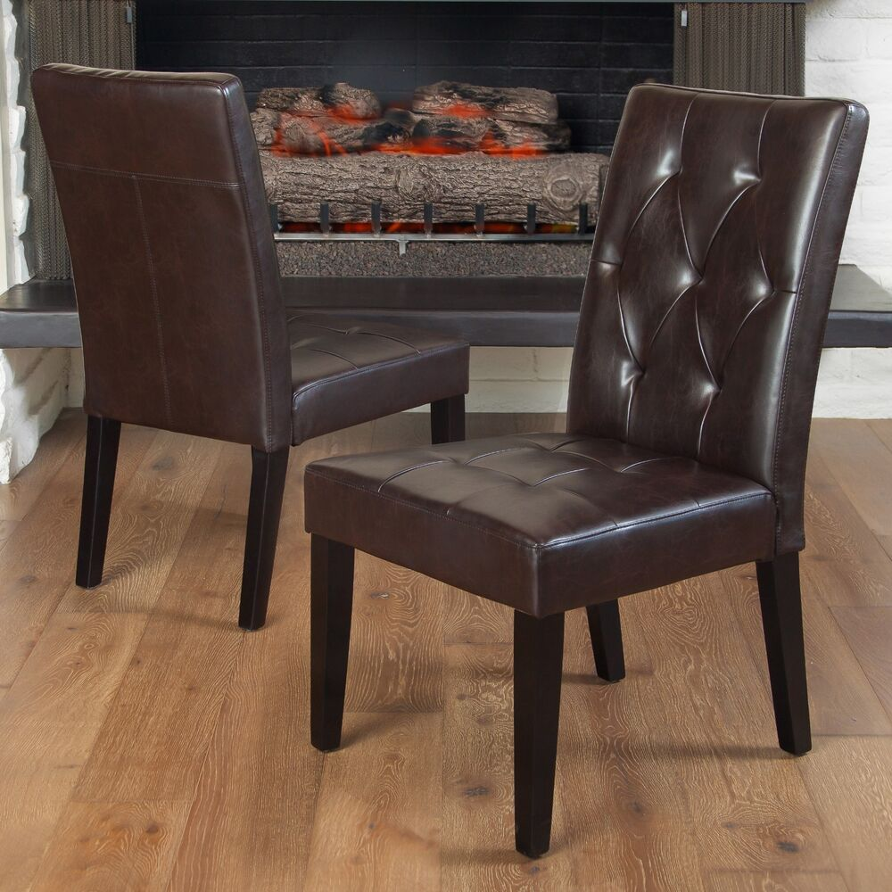 Set Of 2 Dining Room Furniture Tufted Brown Leather Dining: Set Of 2 Contemporary Brown Leather Dining Chair W/ Tufted