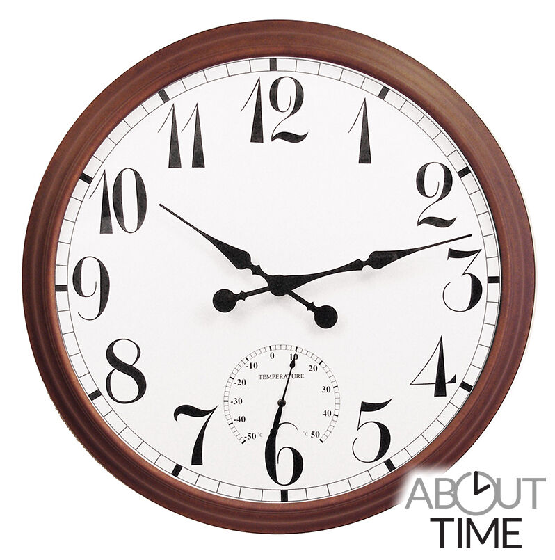 Big Time Outdoor Wall Clock Garden Brown 90cm Large Giant