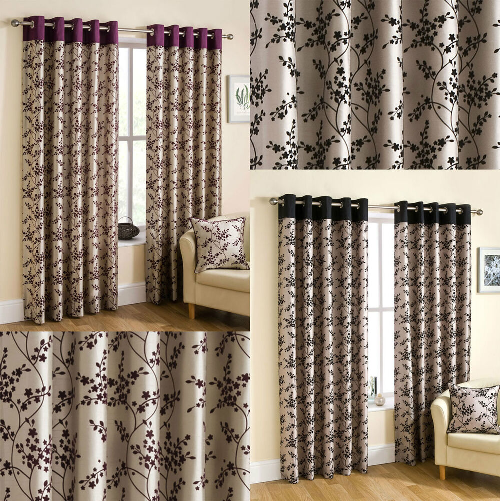 alice floral flock print faux silk ready made eyelet. Black Bedroom Furniture Sets. Home Design Ideas