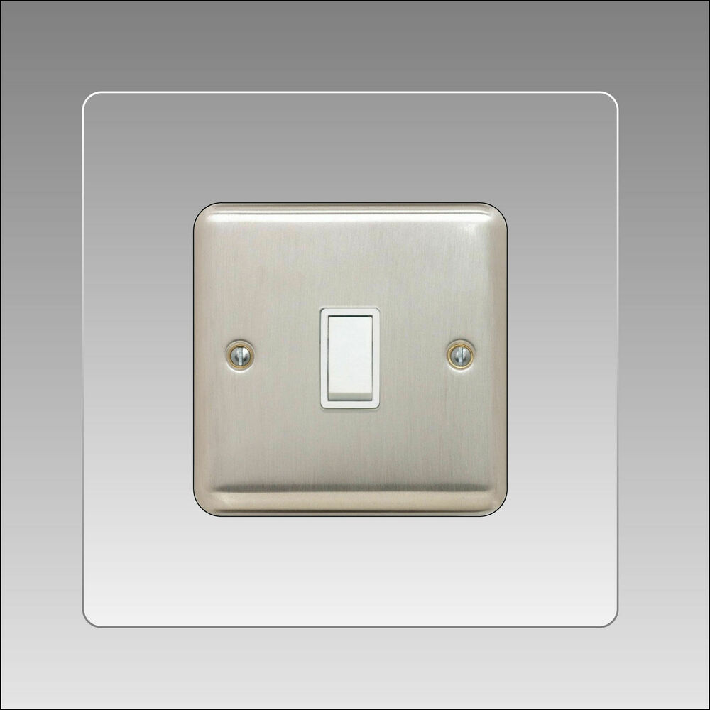 Light Switch Surround Single 3mm Clear Acrylic Finger