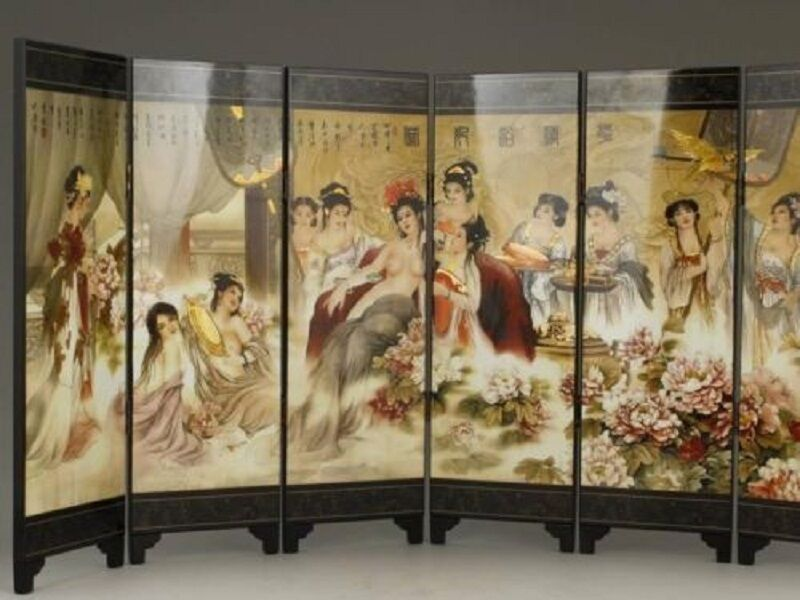 Chinese handwork painting belles scrolls folding for Hand work decoration