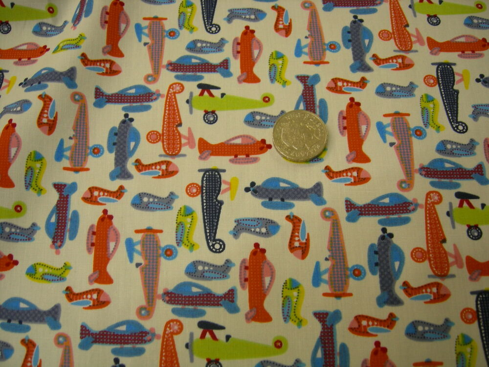 Cotton fabric childrens design planes vintage style half for Childrens fabric