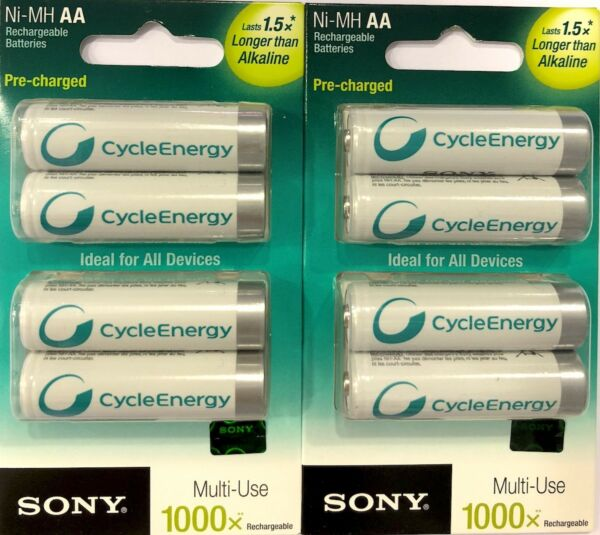 Lot de 8 Piles Rechargeable AA R6 1000mAh Ni-MH SONY 1000X 1,2V 1,5x Alcaline