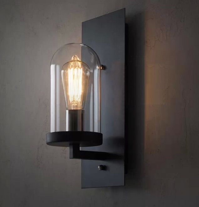 vintage industrial metal wall lamp light glass diy lighting home cafe