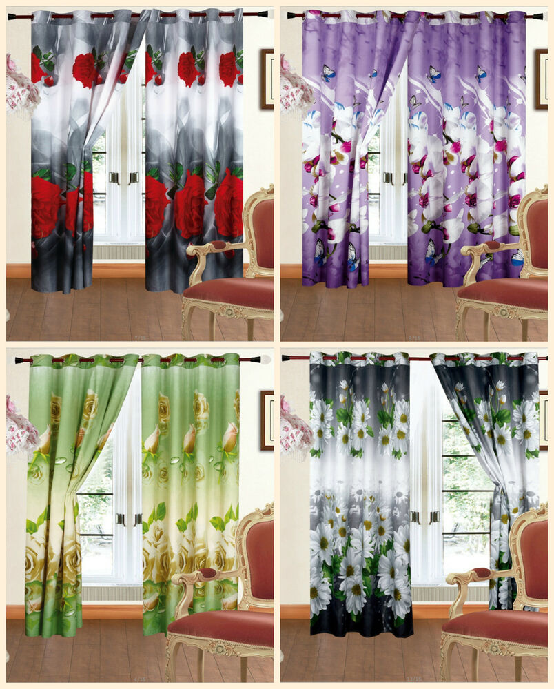 ... Ready Made 3D Photo Print Curtains Roses Daisy Floral Ring Top | eBay