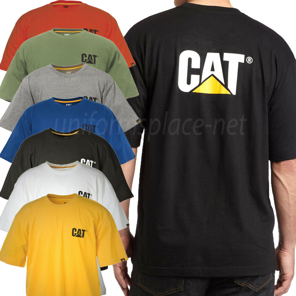Caterpillar t shirt men cat short sleeve trademark logo for Tahari t shirt mens