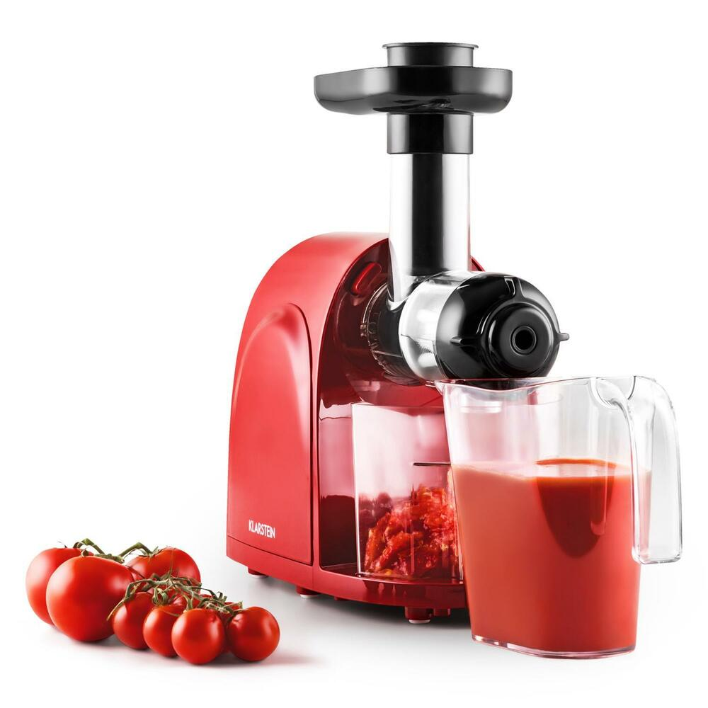 centrifugeuse extracteur de jus klarstein vitesse lente 80t mn 150w inox rouge ebay. Black Bedroom Furniture Sets. Home Design Ideas