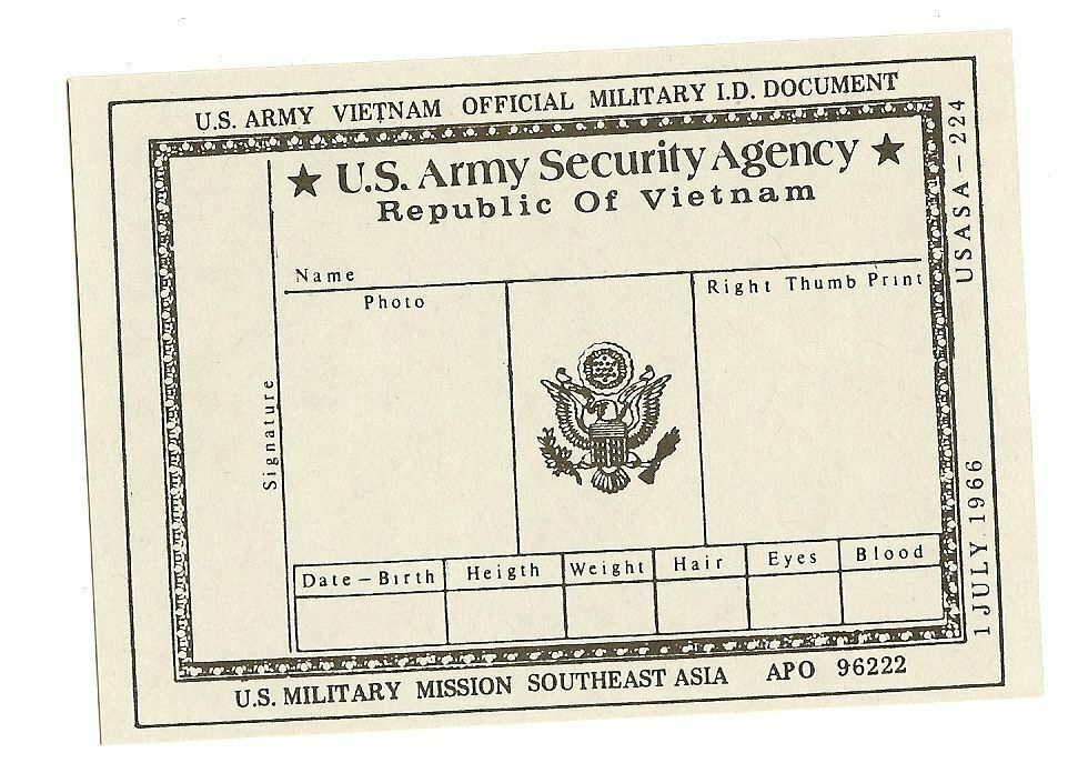 US ASA Army Security Agency ID card - Vietnam 1966 get out