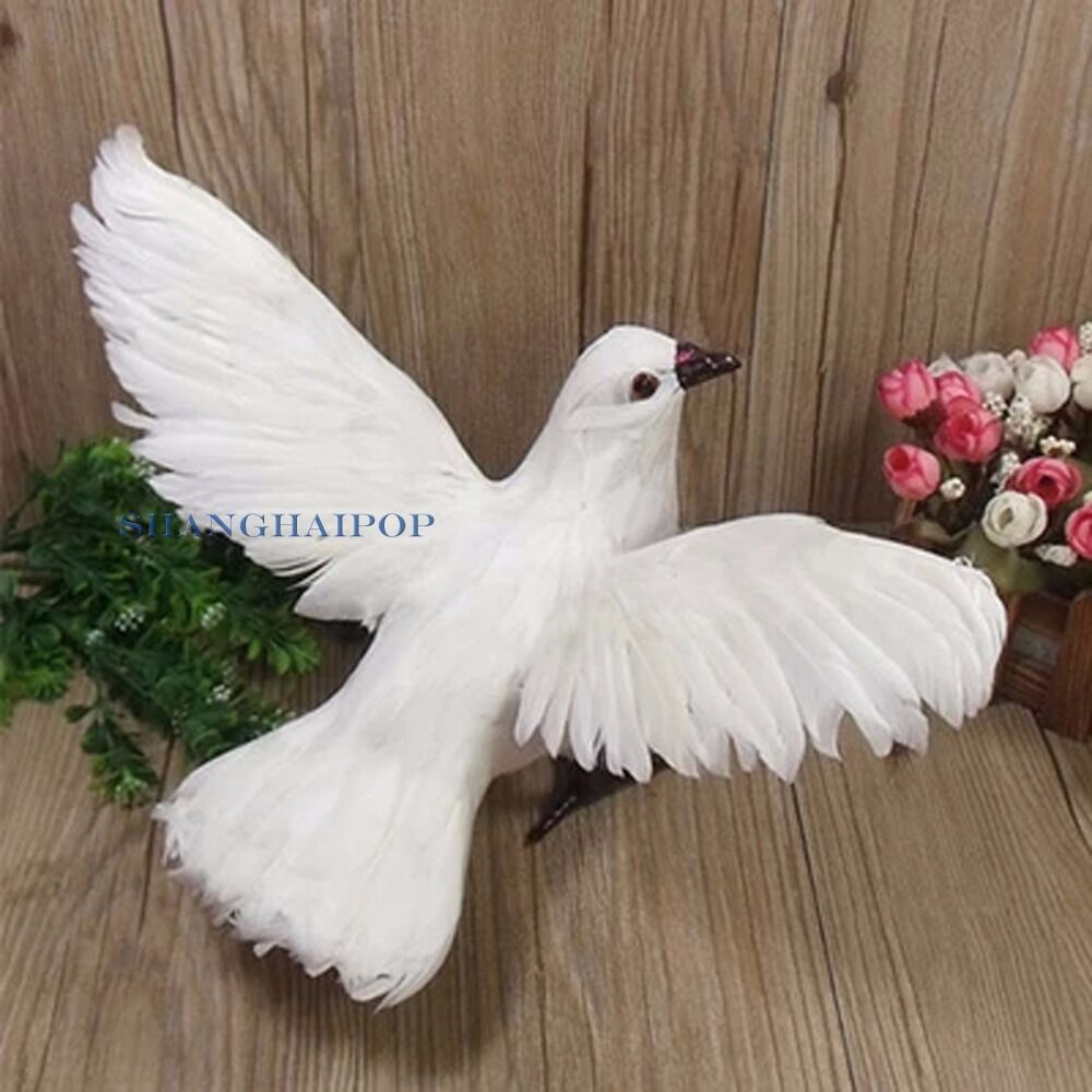 Fake artificial feathered bird dove spread wing garden for Artificial birds for decoration