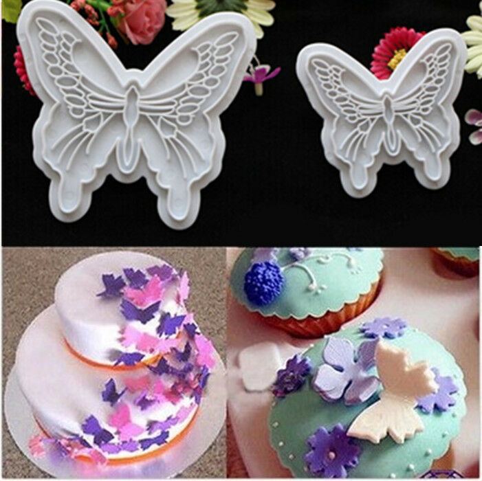 Cake Decorating Sugar Dough : 2PCS New Butterfly Cake Fondant Decorating Sugarcraft ...