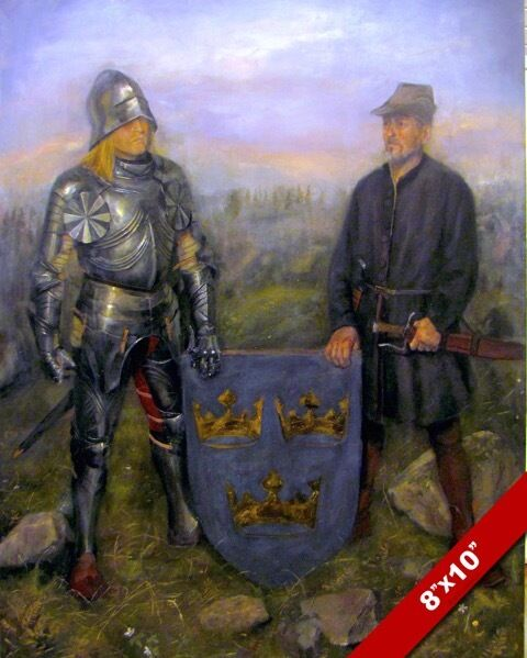 MEDIEVAL SWEDISH KNIGHT IN ARMOR 3 CROWNS COAT OF ARMS ...