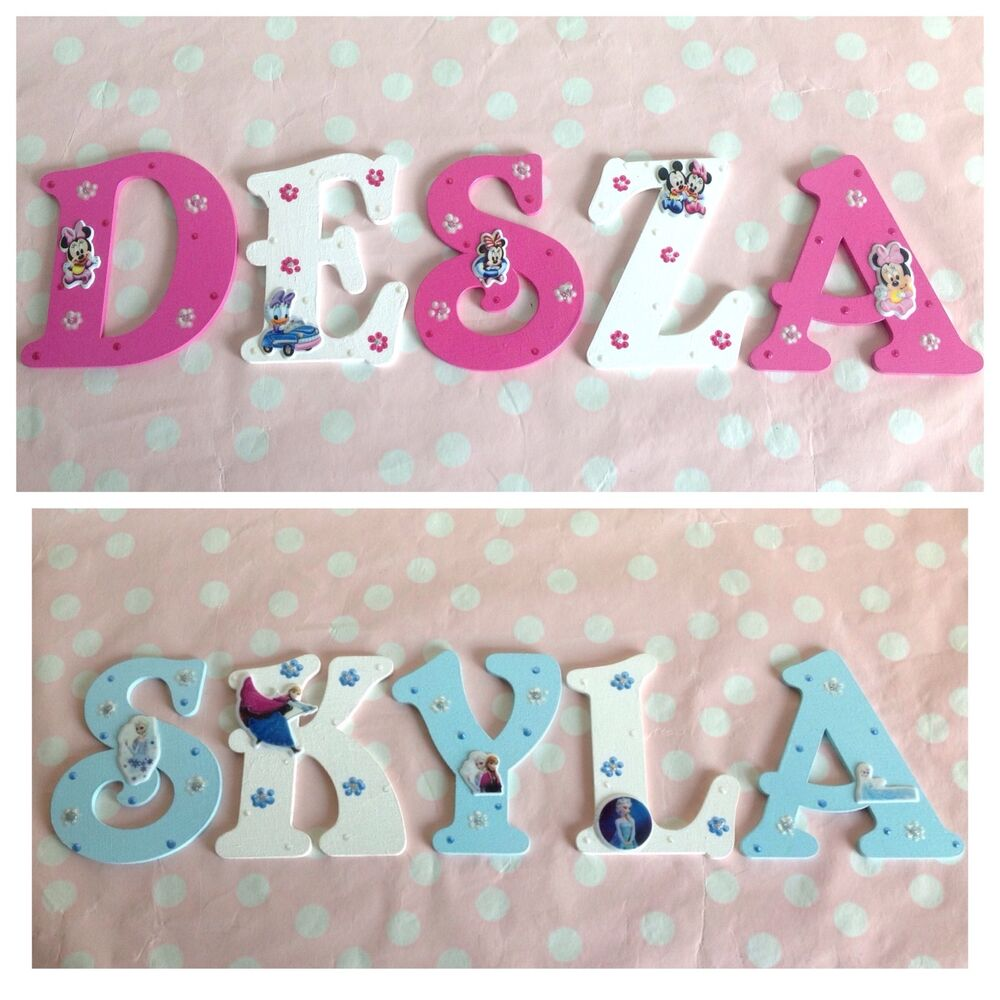 personalised girls name wooden letter door wall plaque any disney
