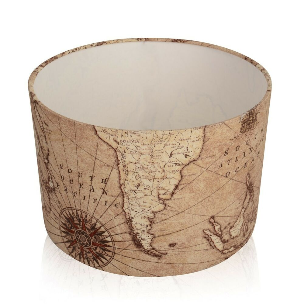 New Vintage Brown Old World Map Lampshade Ceiling Pendant