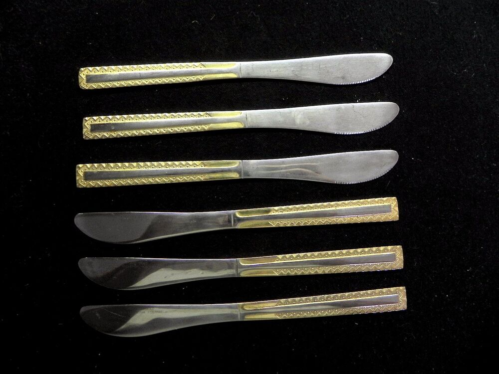 edelstahl germany rostfrei stainless 18 10 flatware gold set of 6 dinner knifes ebay. Black Bedroom Furniture Sets. Home Design Ideas