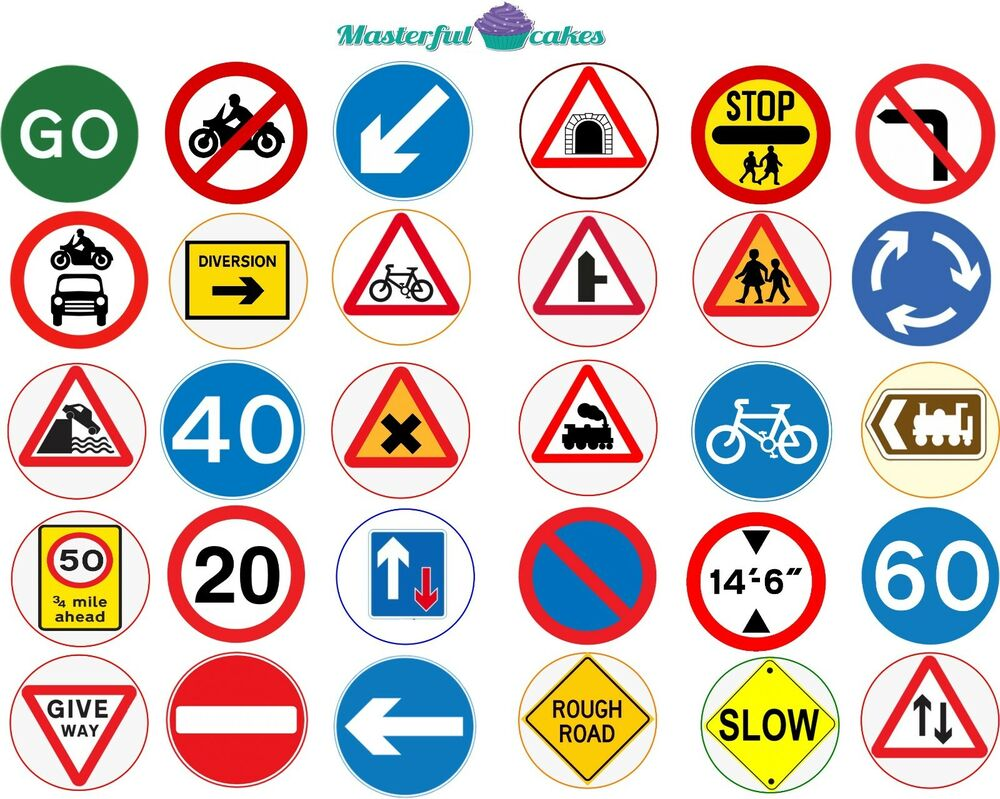 30 x Mixed Highway Code Road Sign Edible Wafer or Icing ...