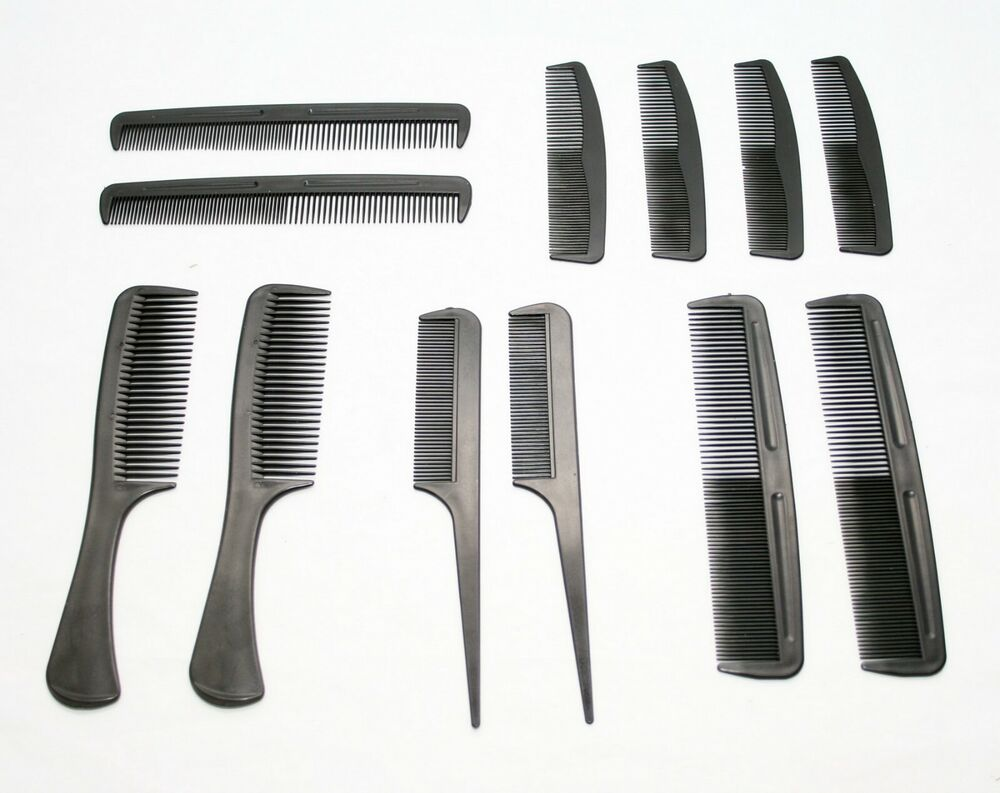 hair styling comb 12 pc family pack comb set barbers hair styling assorted 3449