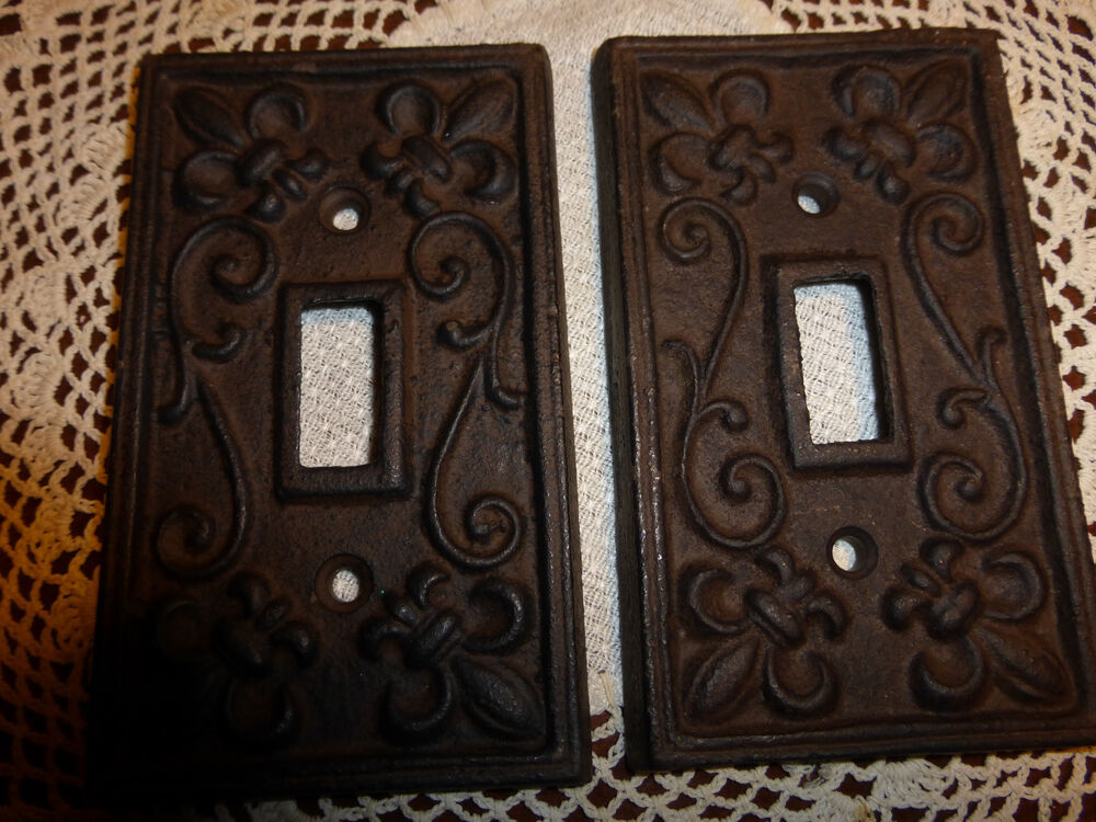 Two fleur de lis cast iron switch plate covers free shipping ebay - Wrought iron switch plate covers ...