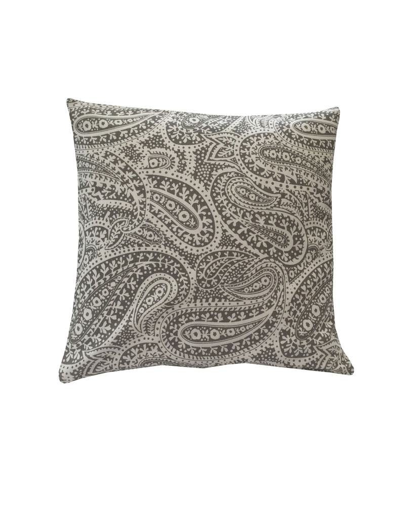 Stunning Grey & White/Natural Paisley Design Cotton Canvas Fabric Cushion Cover