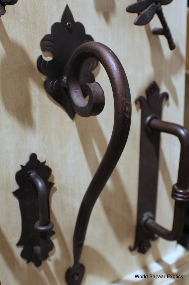 Scroll Large Wrought Iron Door Handle Dark Bronze Finish