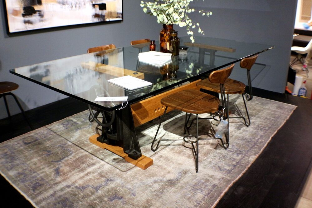 94 l dining table industrial crank glass 3 4 top black for Industrial crank table