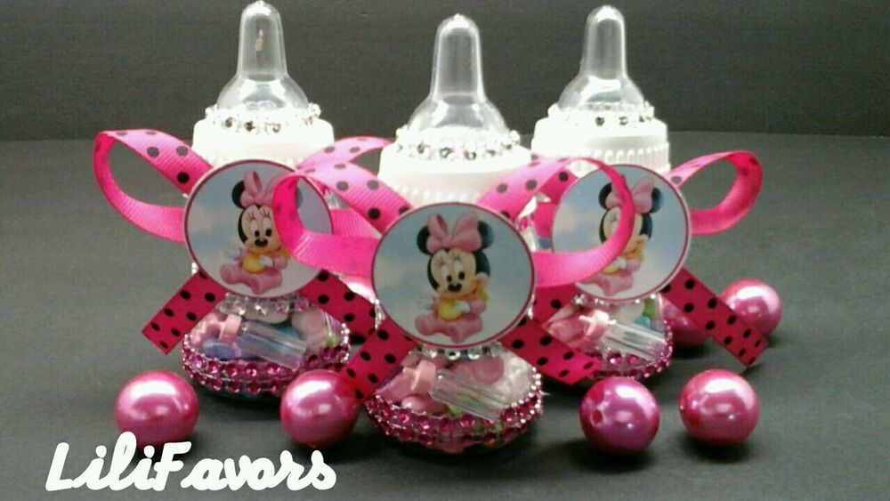 baby girl shower bottles minnie mouse pink black polka party favors