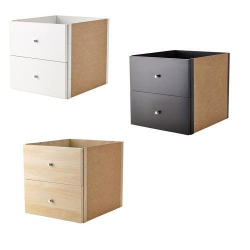 ikea kallax shelf rack insert with 2 drawers in 3 colours compatible expedit ebay. Black Bedroom Furniture Sets. Home Design Ideas