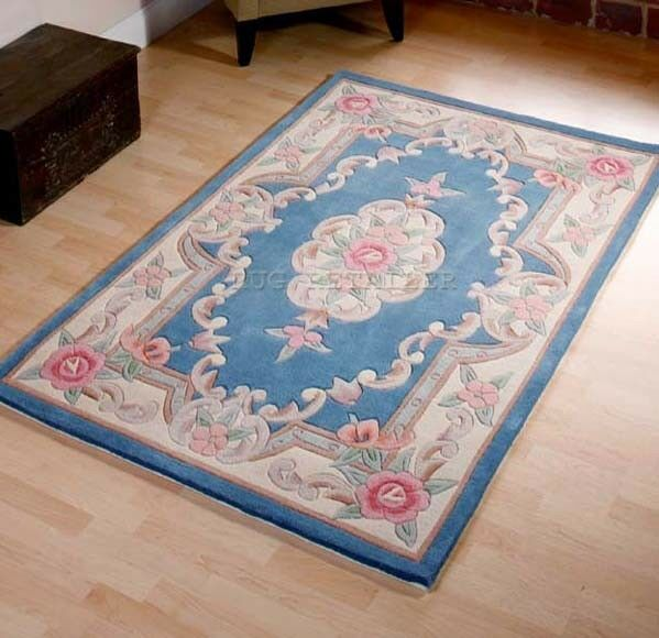 Blue Chinese Premium Aubusson Traditonal Floral Wool Pile