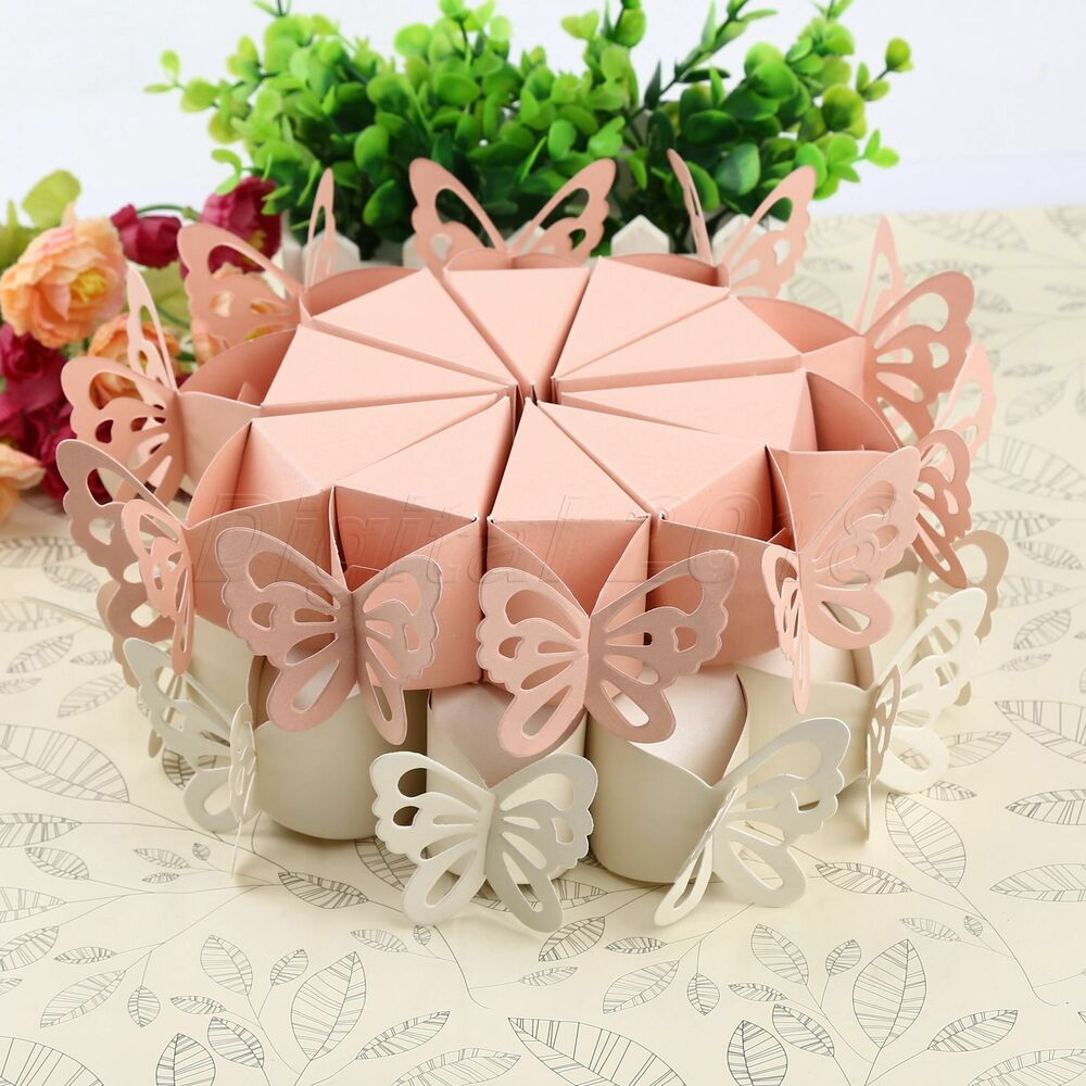 Party Favours Weddings: 10× Paper Handmade Cake Candy Box Butterfly Wedding Party